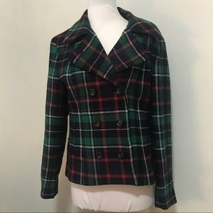 GAP RED GREEN PLAID BUTTON WOOL BLEND JACKET S NWT